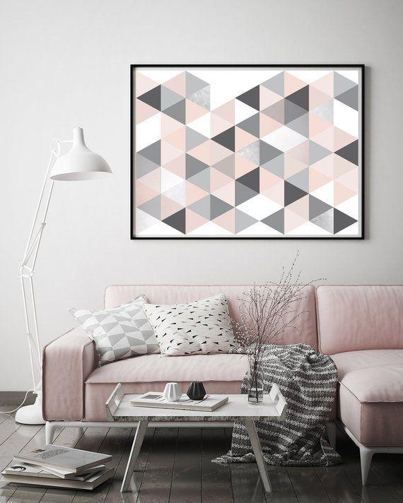 Geometric Art Print, Blush Pink Wall Art, Home Decor, Scandinavian