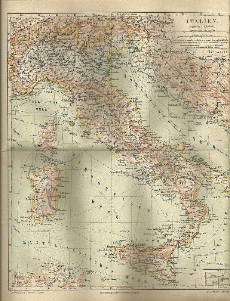 1887 Italien Historische Landkarte Karte Antique Map Italy ...