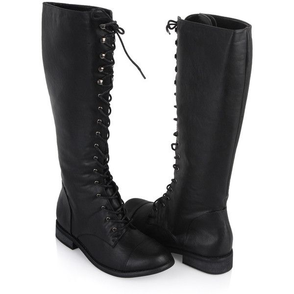 b98083ae1a8 Knee High Combat Boots ($48) ❤ liked on Polyvore featuring shoes ...