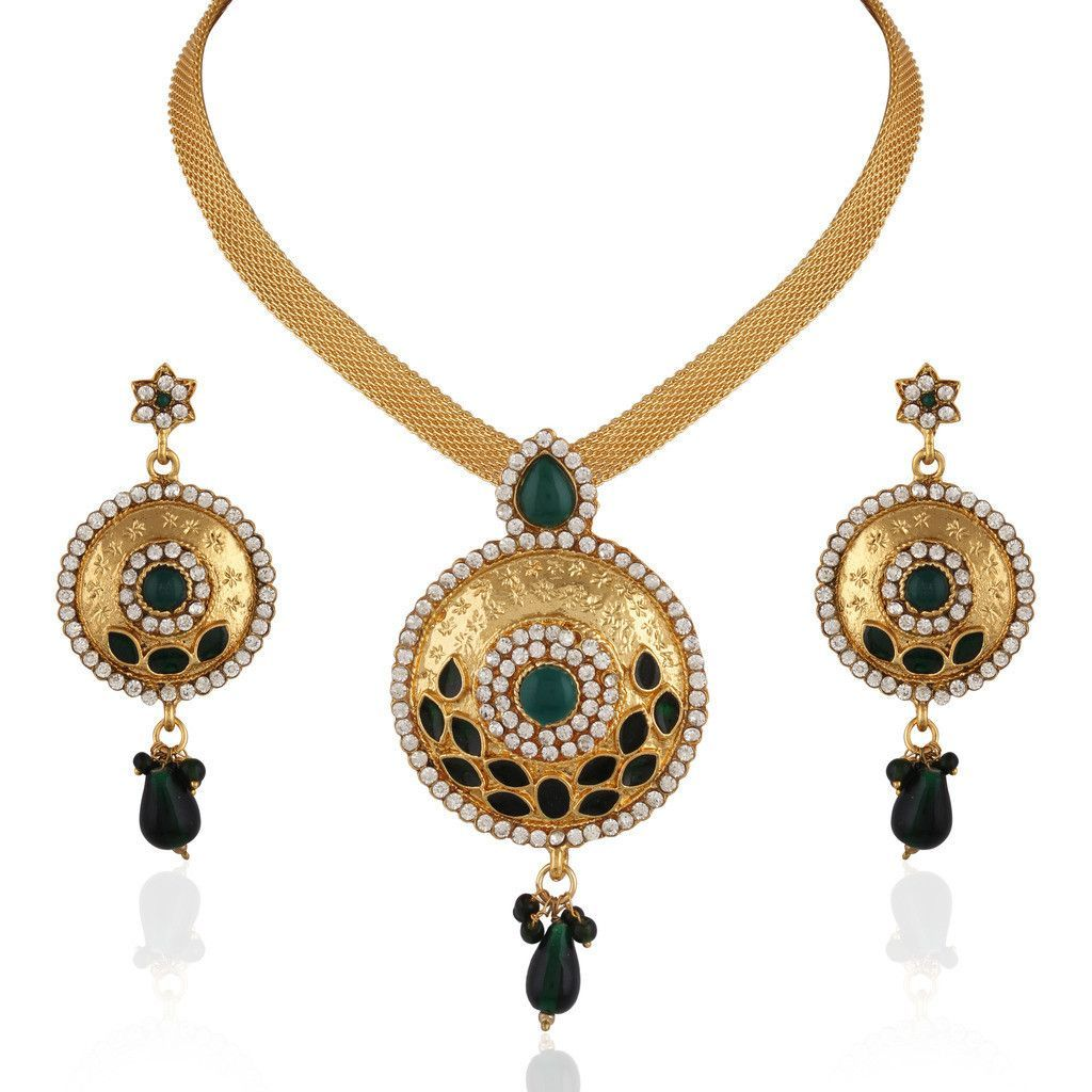 Green gold plated green stone pendant set products pinterest