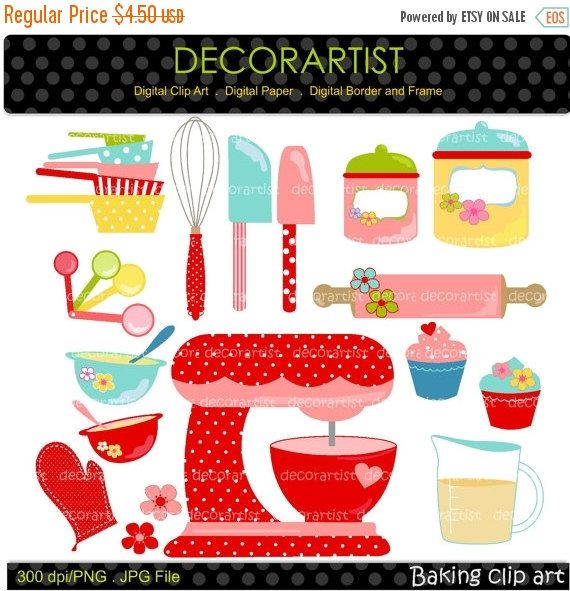 Baking clipart digital clipart for all use kitchen for Implementos para cocina