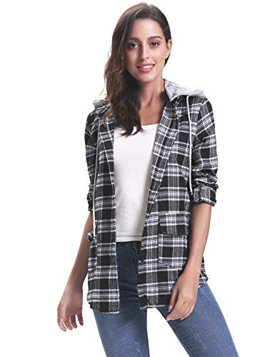 d6e4e034cf1eb iClosam Women Long Sleeve Boyfriend Button Down Plaid Flannel Shirts with  Detachable Hood Black