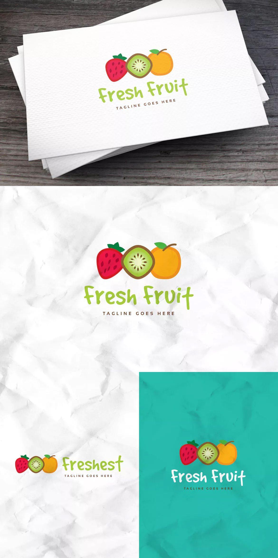 Fresh Fruit Logo Template AI, EPS Fondos de frutas