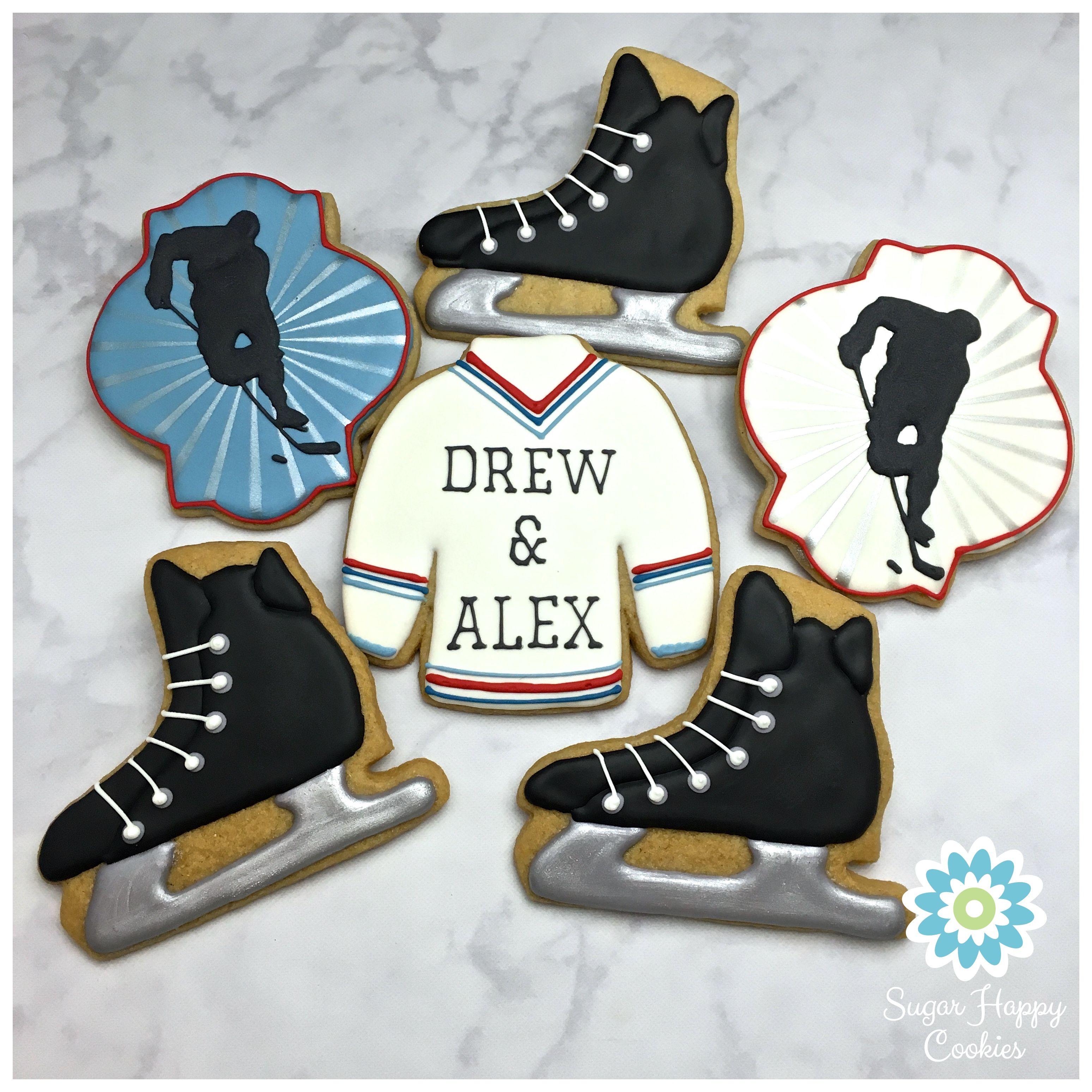 Hockey Sugar Cookies Silhouette Hockey Skates Hockey Sweater Jersey Sugar Cookies Decorated Fancy Cookies Baby Cookies