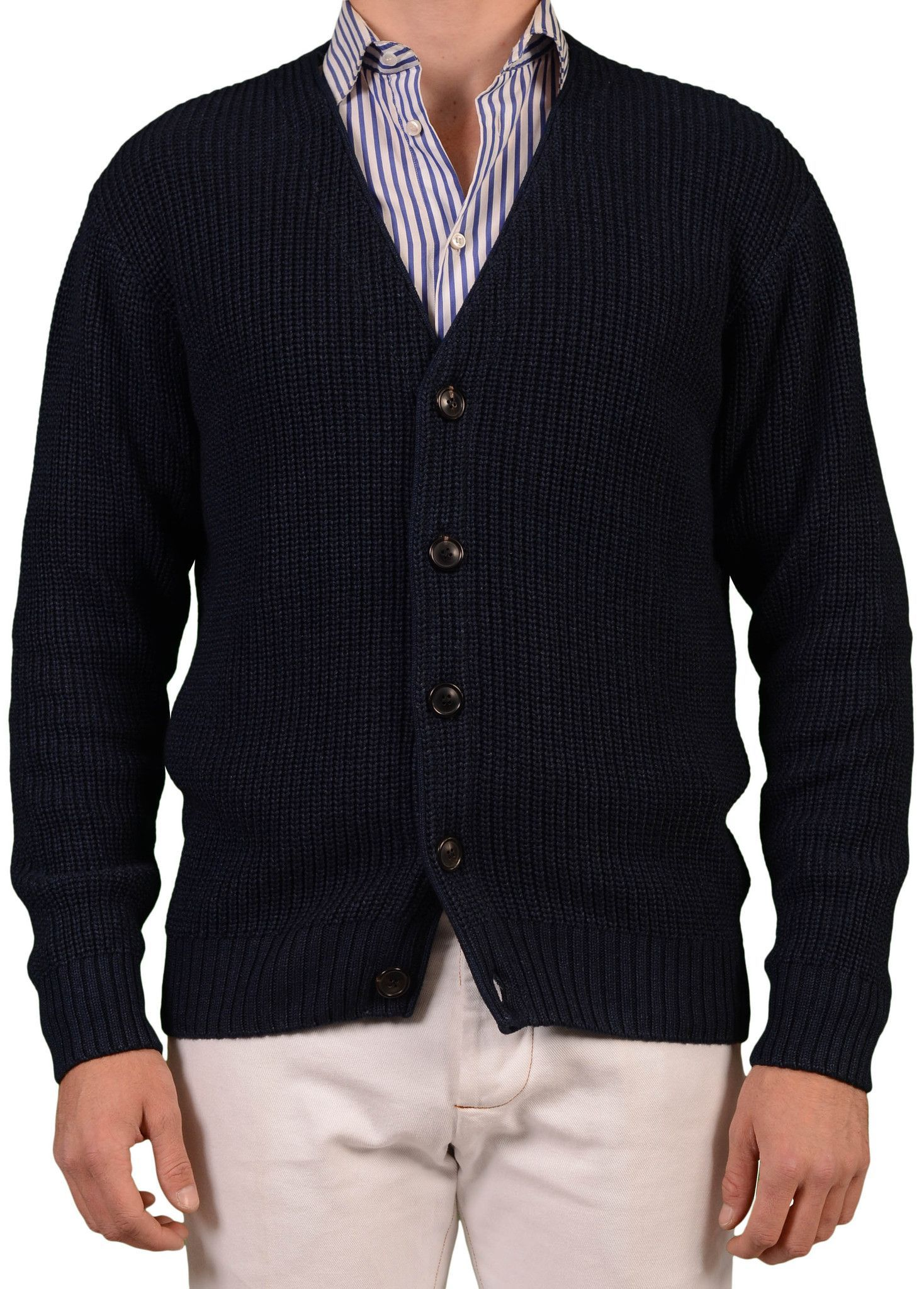 OUR LEGACY SS14 Navy Blue Cotton Knit Cardigan Sweater US M NEW EU ...