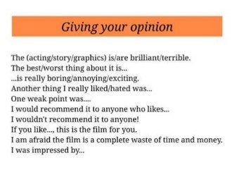Some Useful Phrases For Writing Film Reviews Film Review Esl Lesson Plans Writing