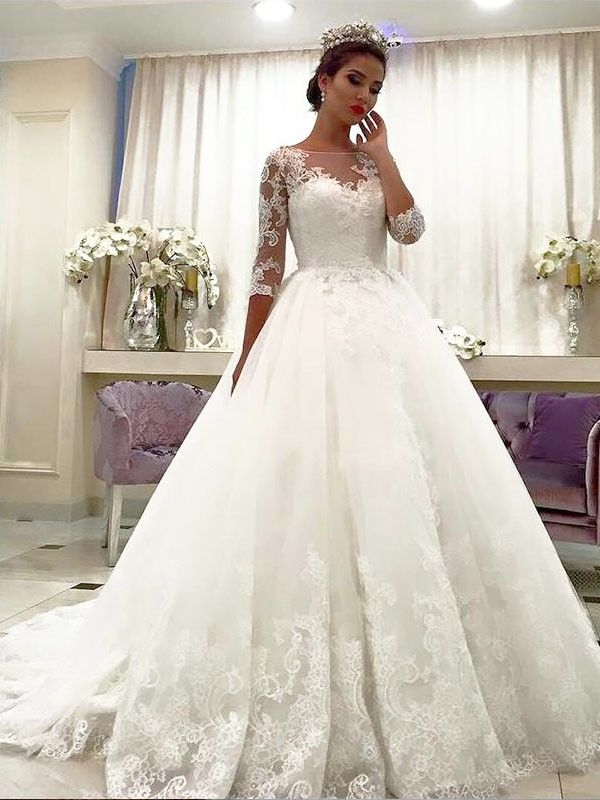 47f7bb8c7 Ball Gown Tulle 3/4 Sleeves Bateau Lace Court Train Wedding Dresses