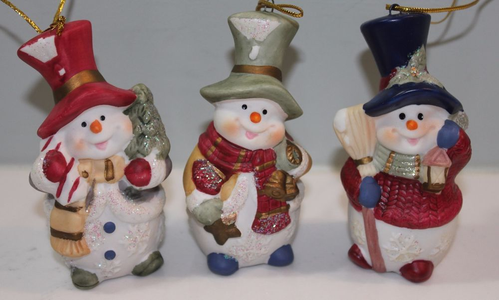Snowman Christmas Tree Ornaments Hand Painted Ceramic Set of 3