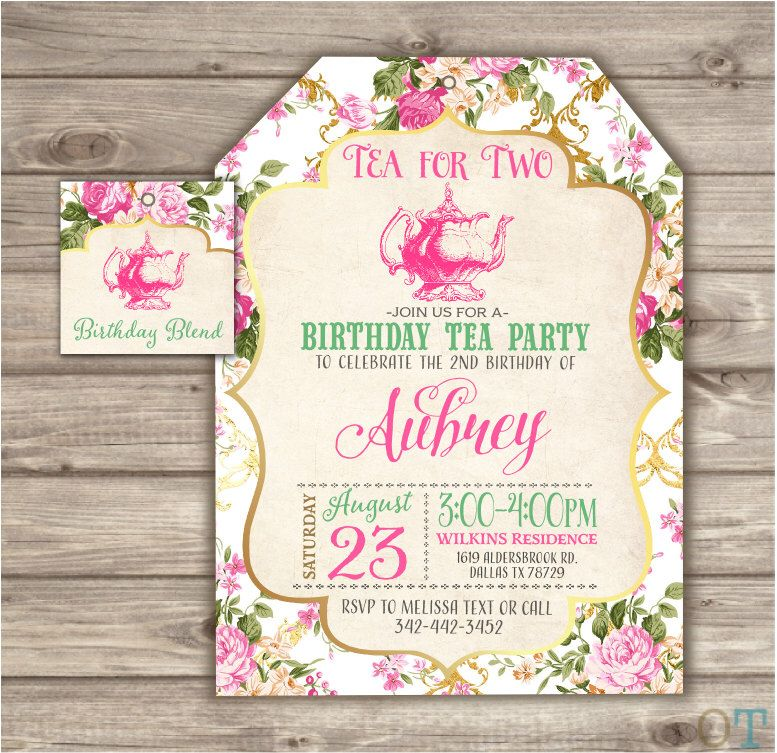 Tea for Two 2nd Birthday Invitations Second Birthday Tea Party ...