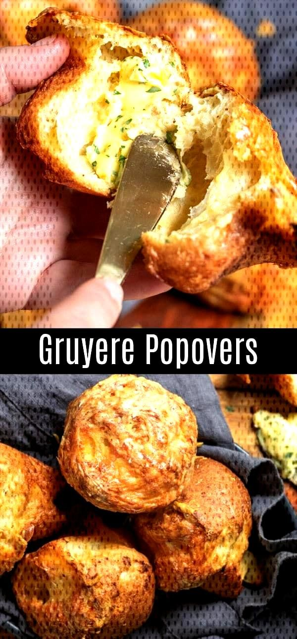 These easy Gruyere Popovers are a fluffy, cheesy popover recipe that make a great addition to Thank