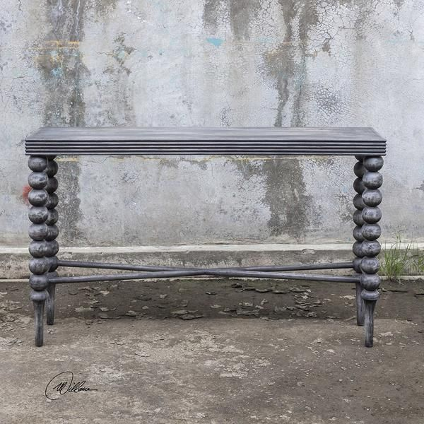 Gray Wood Console Table With Ball Legs Gray Console Table Wood Console Table Console Table