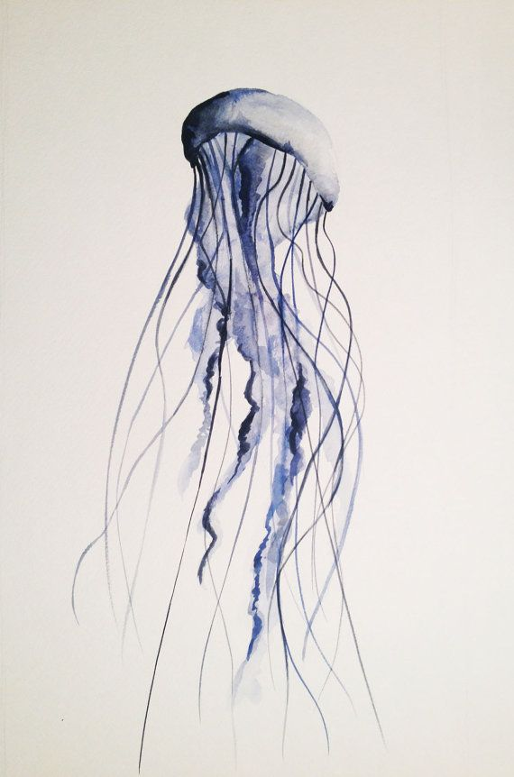 60bb06dfa MADE TO ORDER Jellyfish Watercolor Painting, Original By Renée W. Levin