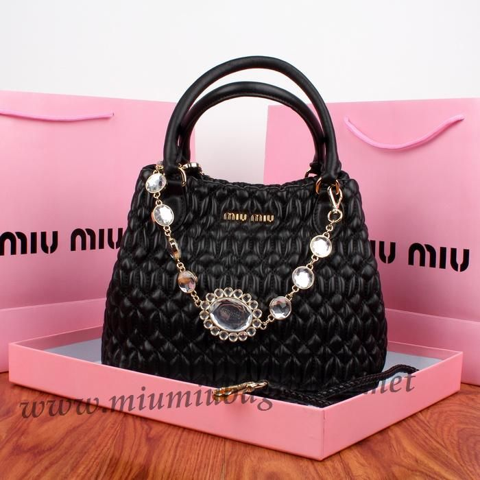 5d799dccebc3 2013 Miu Miu Nappa Cristal Shoulder Bag in Black Cloquet Nappa Leather