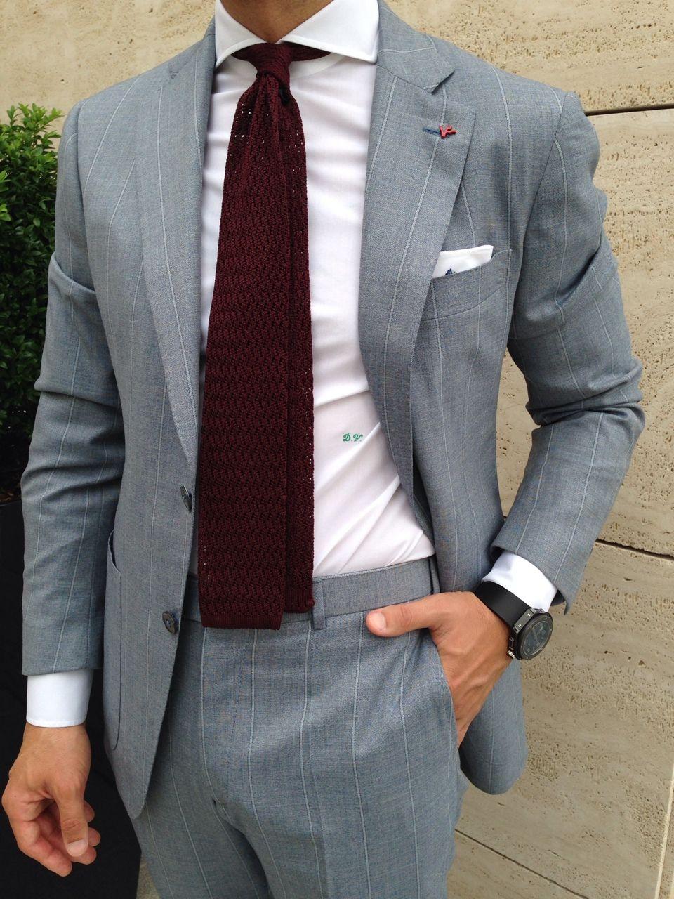 Mens Gray Suit With Dark Red Tie Accent Gentlemenswear Style