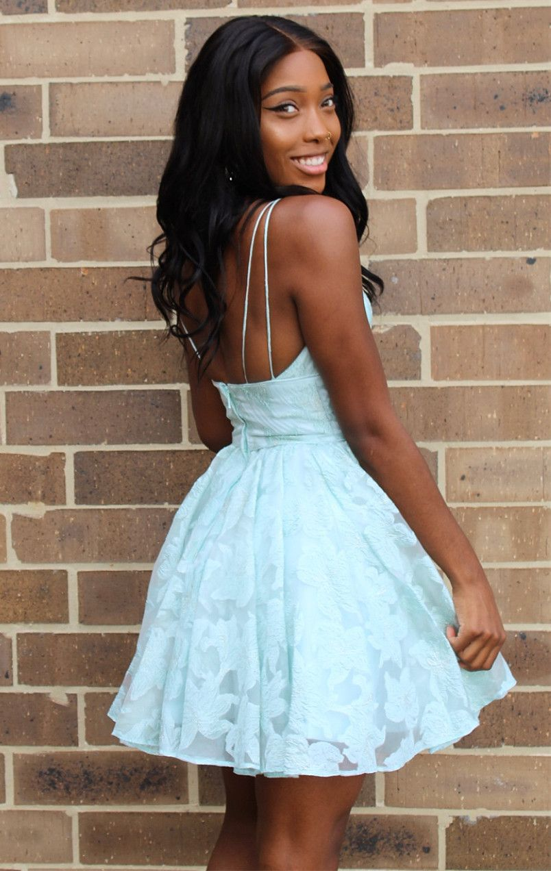 Aline spaghetti straps mint lace short homecoming dress