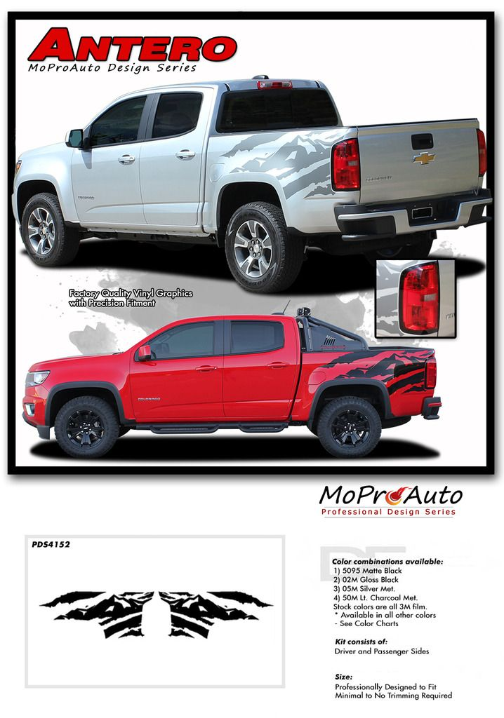 Antero 2015 2020 Chevy Colorado Rear Bed Graphic Truck Decal Accent Vinyl Package Kit Chevy Chevy Colorado Chevy Vehicles