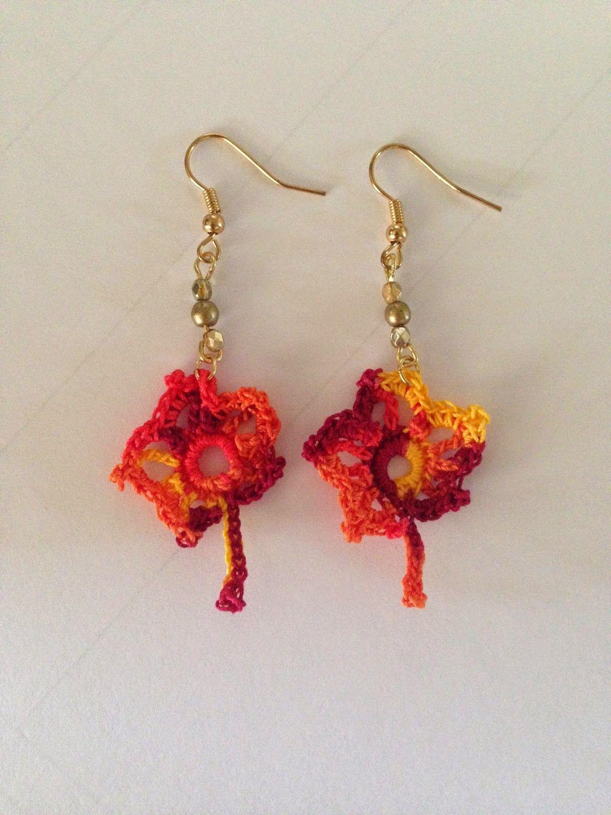 Crochet maple leaf fall earrings. Free pattern included! | Lace ...
