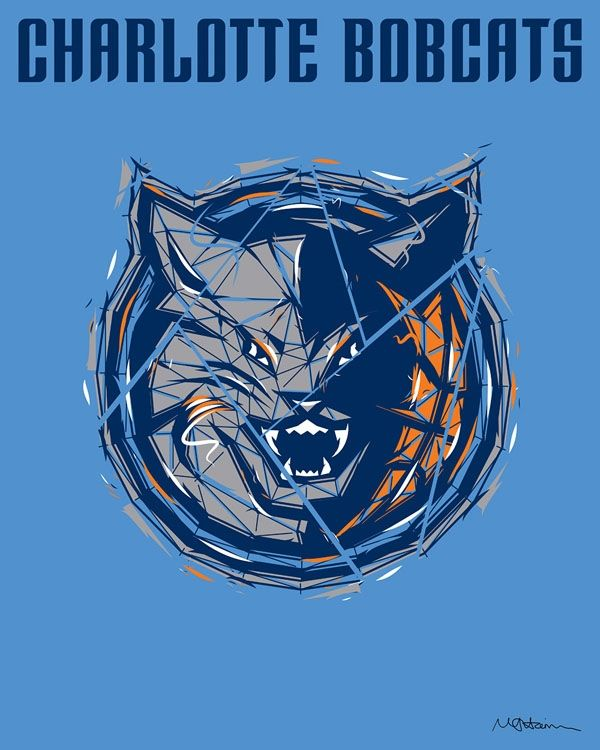 Nba Charlotte Bobcats Art Logo Design From Rareinkcom Nba Team