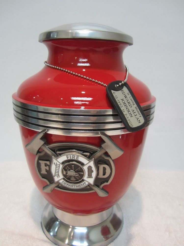 Fireman Firefighter Red Adult Memorial Cremation Urn vase chrome