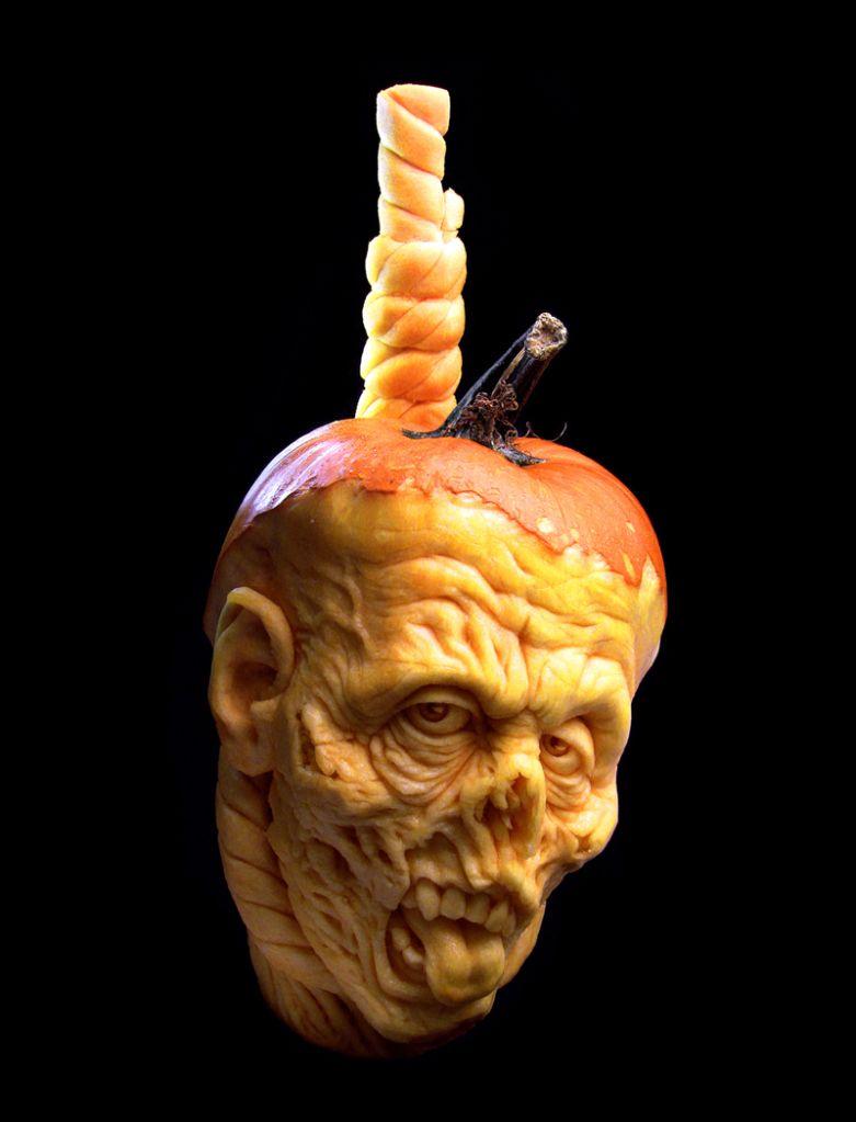 Shrunken Head Pumpkin SculptureCarving By Ray Villafane Holiday - Mind blowing pumpkin carvings by ray villafane 2