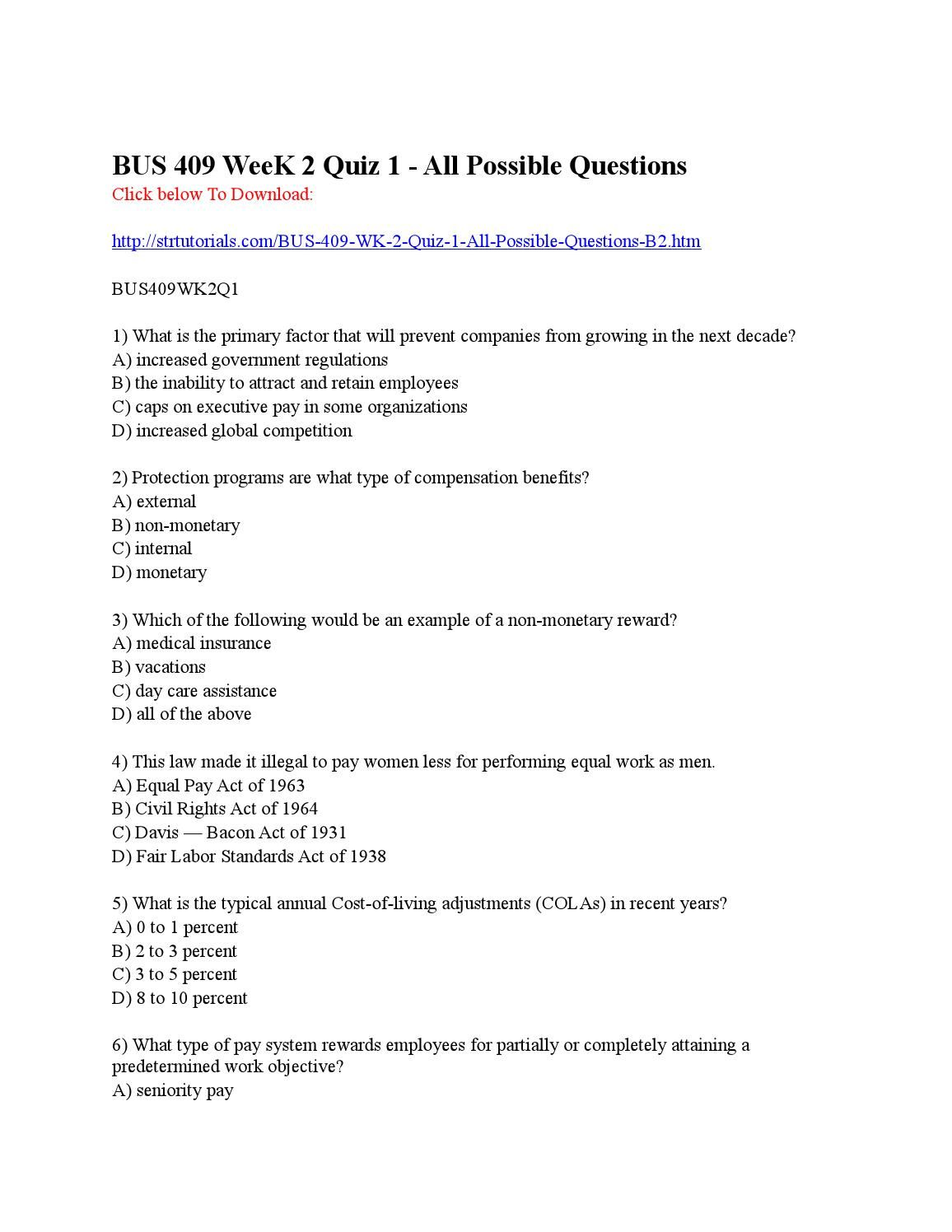 Bus409 Week 2 Quiz 1 All Possible Questions BUS 409 WeeK