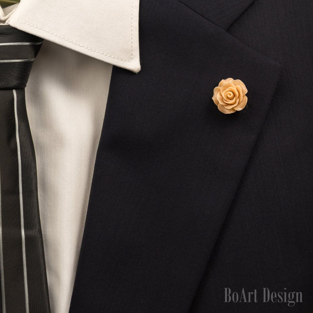 pin brooch mens rose beige resin lapel flower