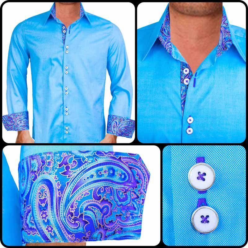 Mens Designer Dress Shirt : Bright Blue with Purple Dress Shirts ...