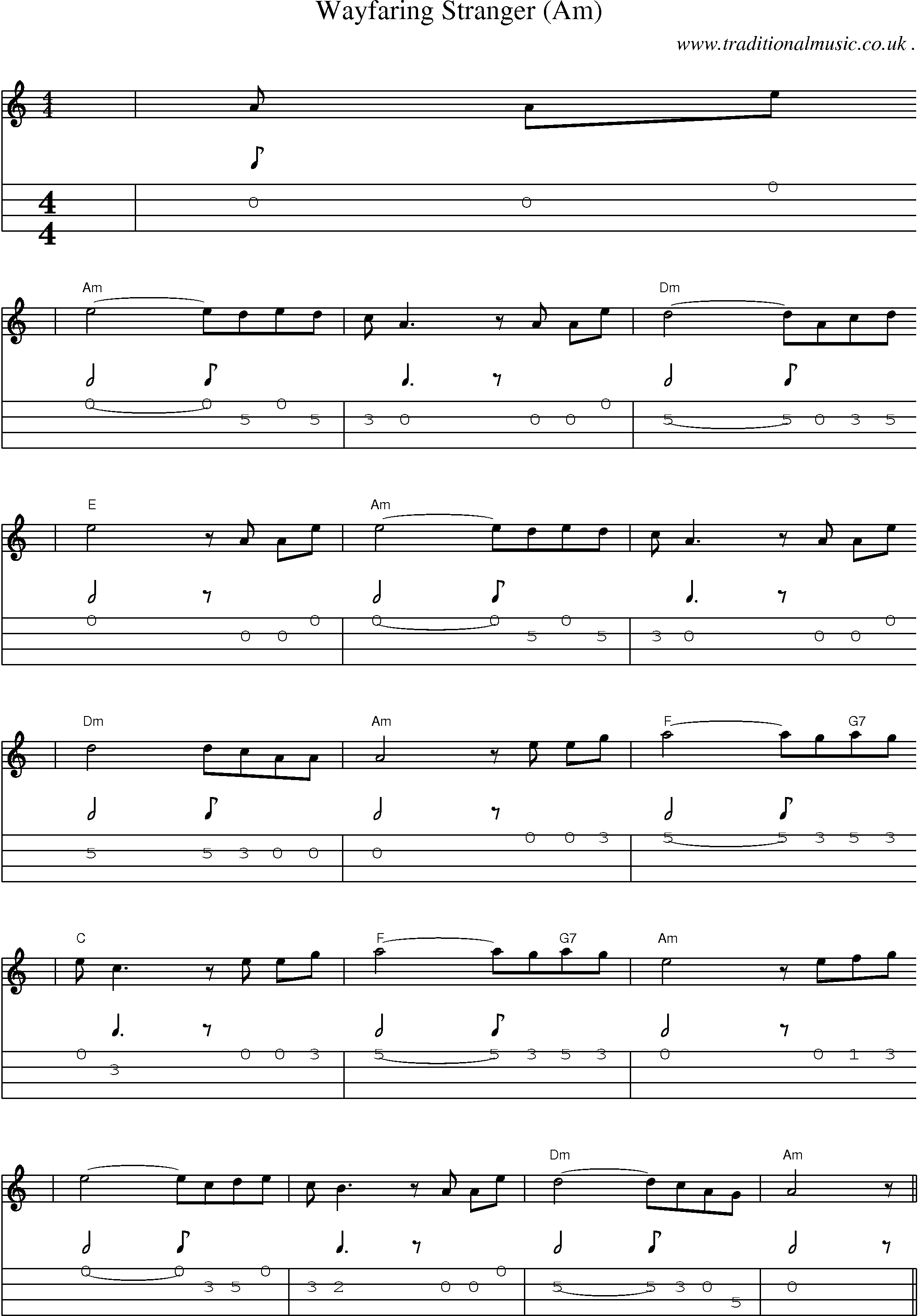 Music Score And Mandolin Tabs For Wayfaring Stranger Am
