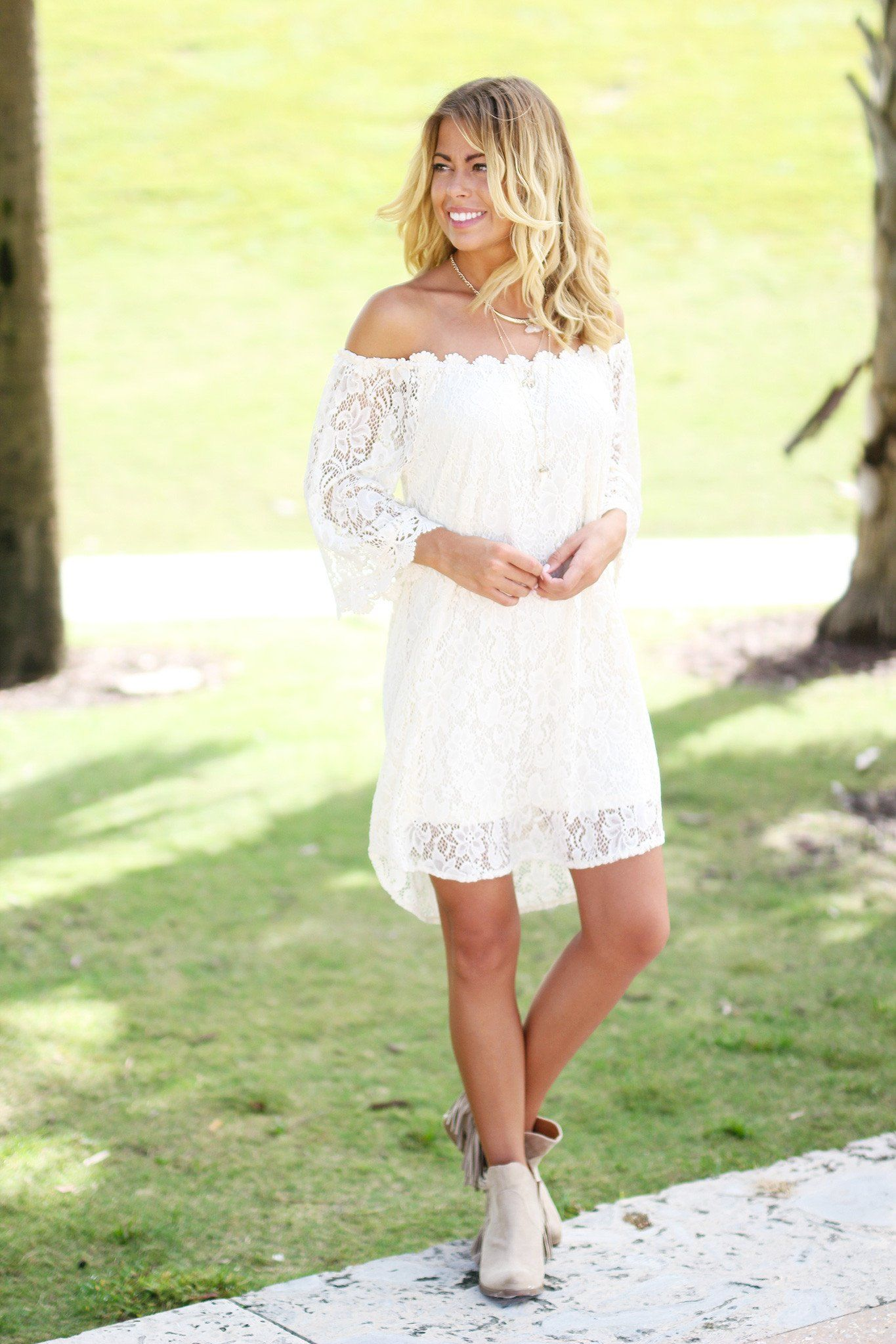 Cream Lace Off Shoulder Short Dress Bunk Bedswoodworking