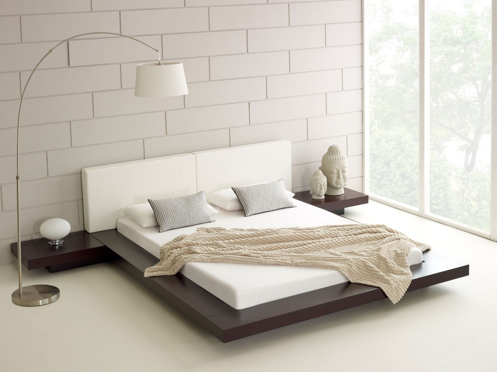 Contemporary white japanese bed design with unique white for Floor bed frame