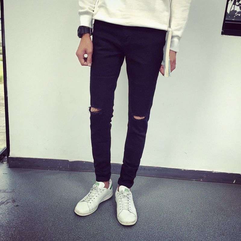 Jeans Men 201 Brand New Those Days Knee Ripped Hole Casual Skinny ...