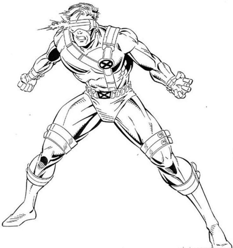 Free coloring pages x-men - Cyclops Is A Mutant Superhero Who Projects An Optic Blast Just Print It Out And Have Fun With This Free X Men Printable Coloring Sheet For Kids