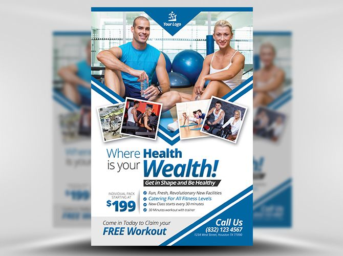 Fitness Flyer Template FH 1 101 FITNESS GYM Pinterest Flyer - Gym Brochure Templates