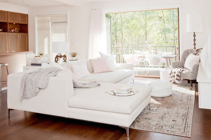 amazing living room features modern white sofa with chaise