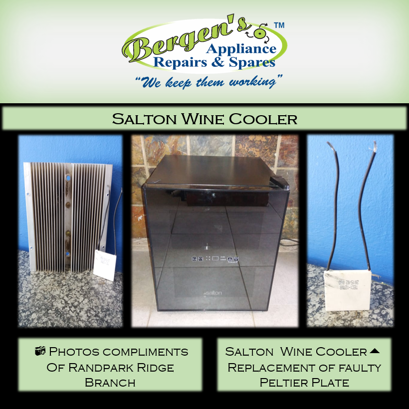 We Have The Parts To Repair Your Wine Cooler Randpark Ridge Branch Is Repairing This Salton Wine Cooler For One Of Their Custom With Images Wine Cooler Repair Wine Bottle