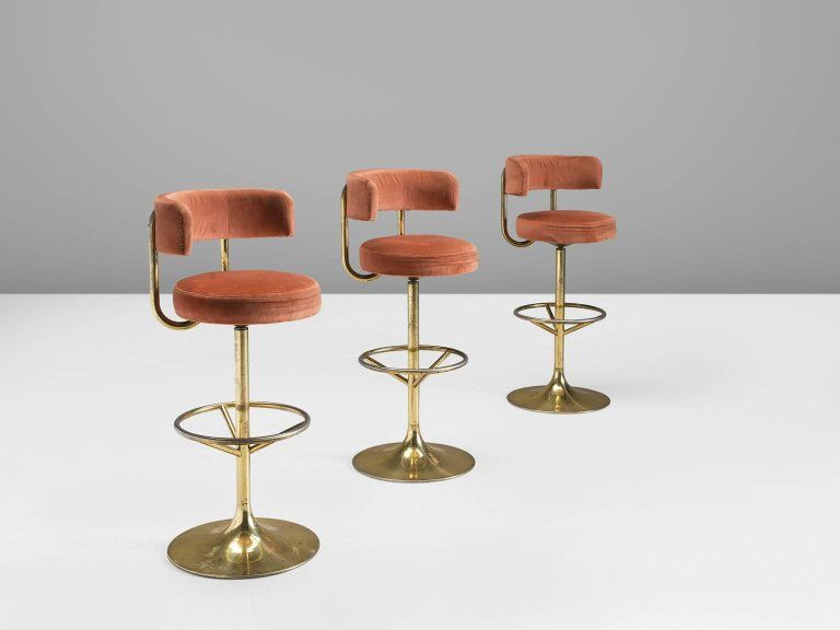 Set Of Three Pink Velvet Barstools By Borje Johanson 3 Bar Stools Pink Velvet Pink