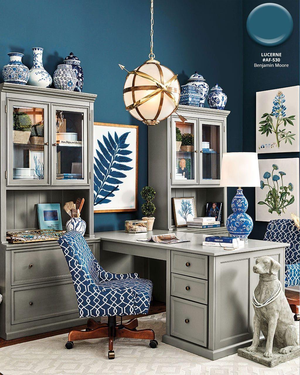 Benjamin Moore S Lucerne Blue Wall Color In Ballard Designs Catalog Ide Kamar Tidur Meja Kantor Kamar Tidur
