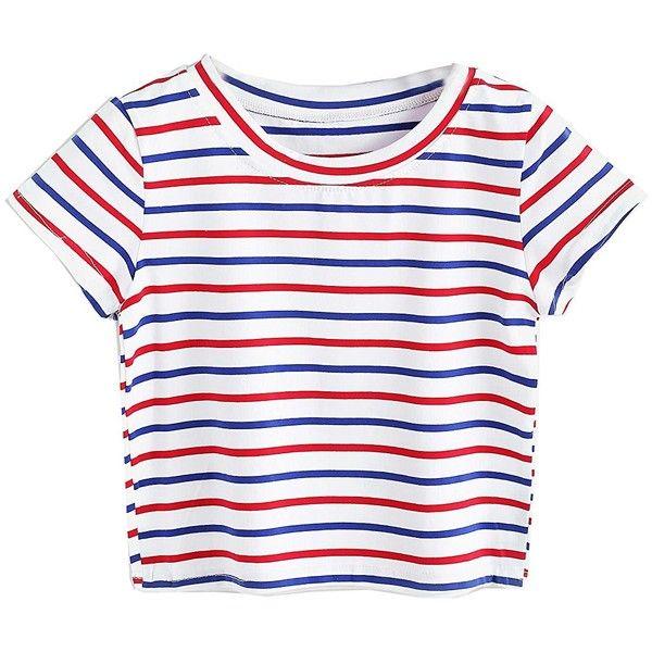 077f1c495b5 SweatyRocks Women s Short Sleeve Striped Crop T-Shirt Casual Tee Tops  ( 9.99) ❤