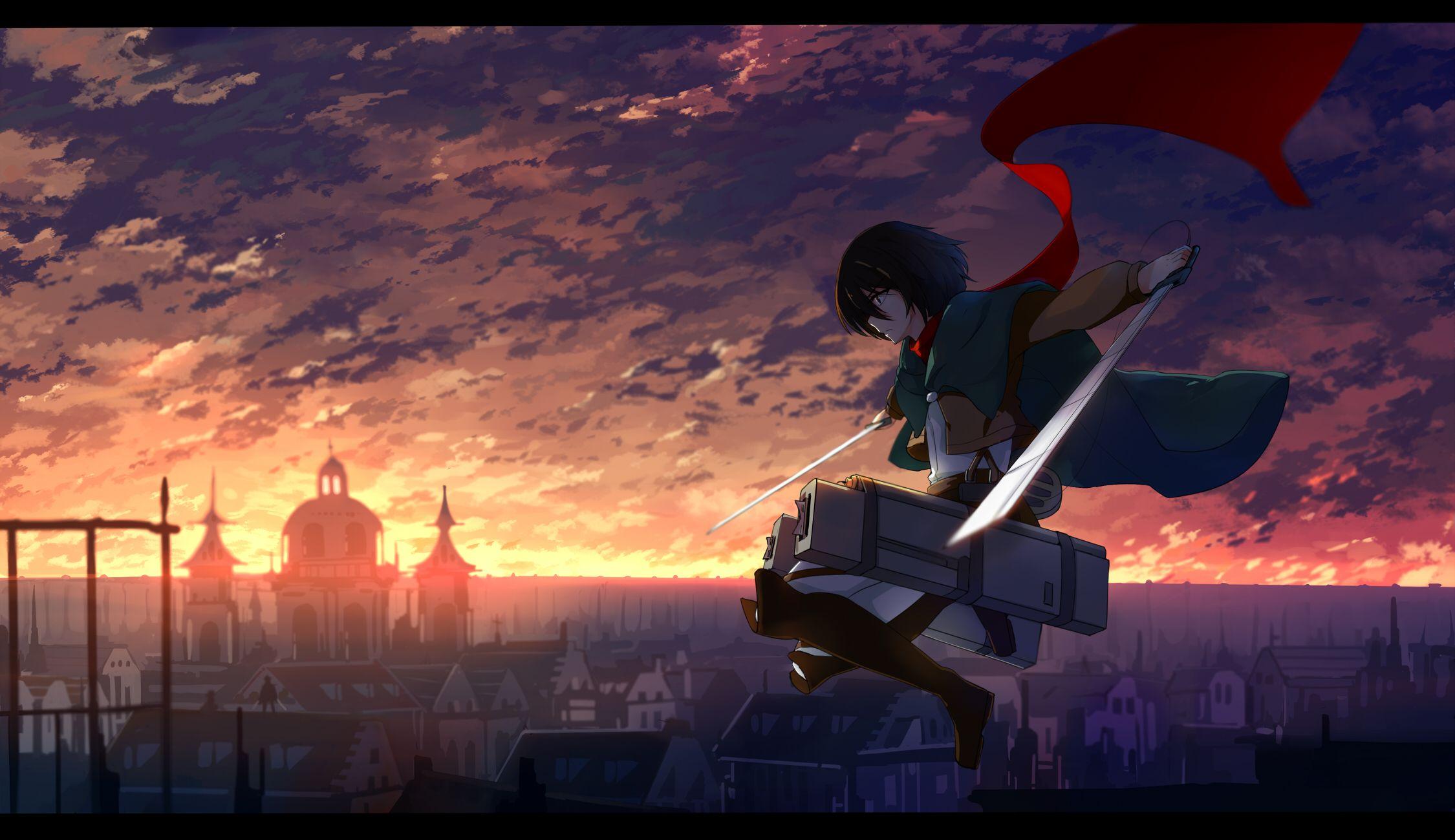 sky warriors shingeki no kyojin mikasa ackerman swords anime wallpaper background