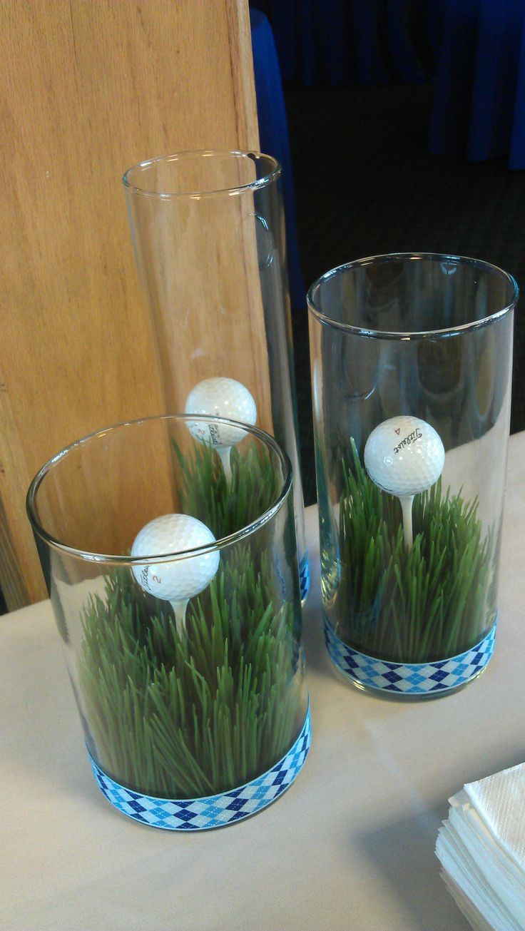 Centerpiece or buffet decor for a golf theme event golf