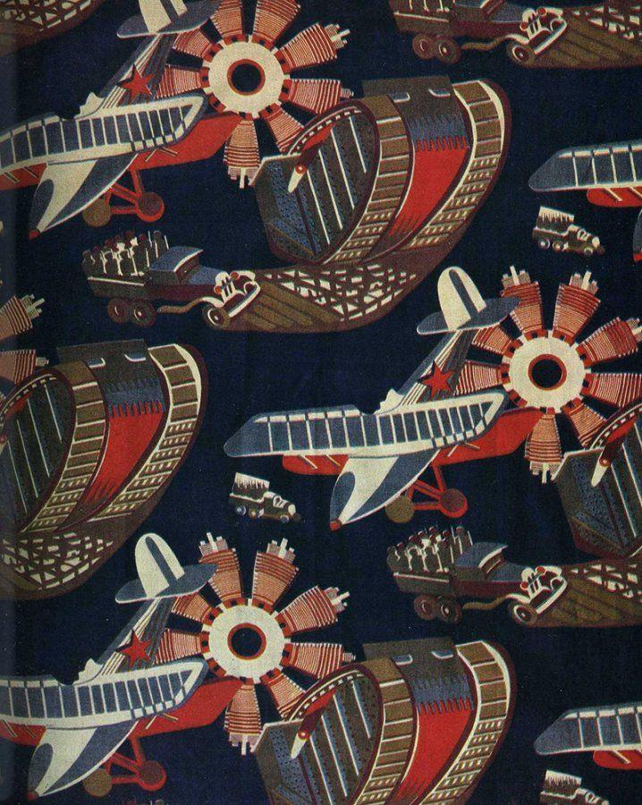 avant-garde print on textile - USSR - beginning of 20th century