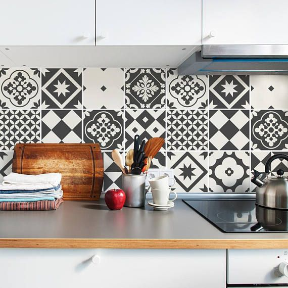 Grey Tile Decals Tile Stickers Set Geometric Traditional Tiles Kit Tiles For Kitchen Kitchen Backsplash Pack Of 24 Carrelage Traditionnel Deco Maison Et Stickers Carrelage