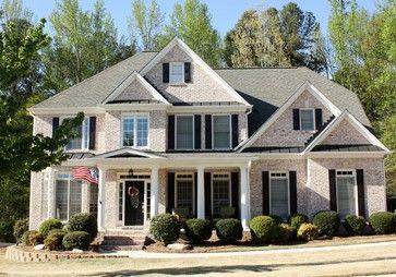 Light Brick With Black Shutters Beautiful House Design Traditional Exterior Light Brick