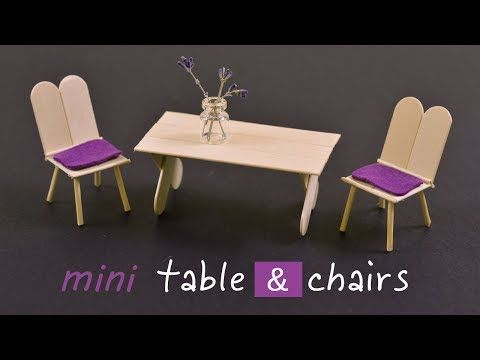 Photo of DIY Mini Popsicle Stick Table & Chairs | Art IDEA