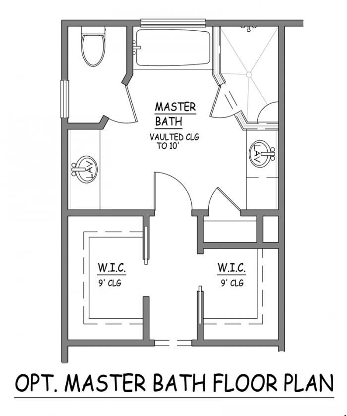 i like this master bath layout no wasted space very efficient separate closets