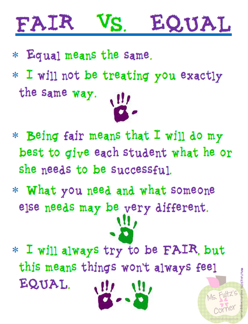 FREE Fair vs. Equal poster