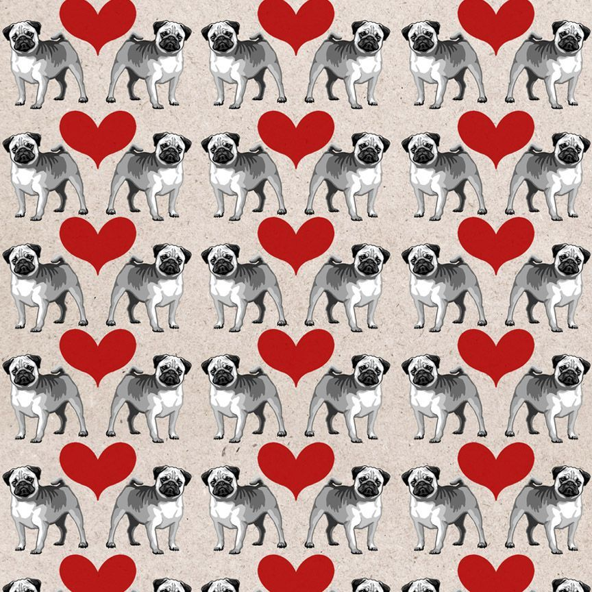 Pug Dog Digital Paper Pattern For Scrapbooking Cardmaking Birthday