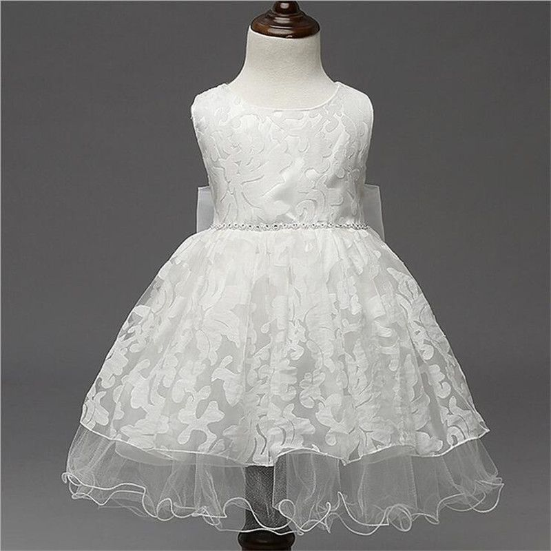 Embroidery Lace Up Ball Gowns Kids Prom Dresses Wedding Flower Girl ...