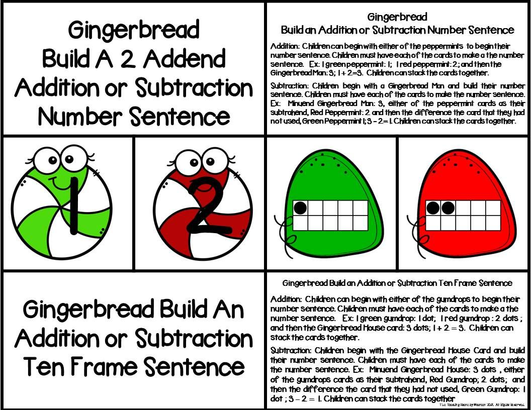 Gingerbread 2 Addend Addition Amp Subtraction With Ten