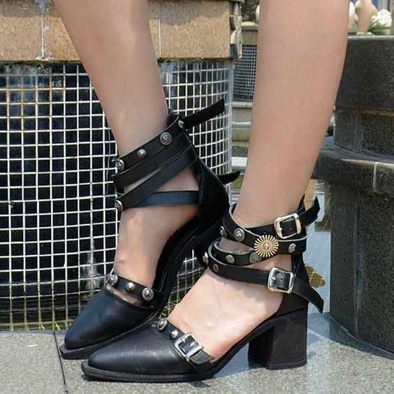 b26e3c4fa Shoespie Design Punk Style Strap Buckles Low Heels